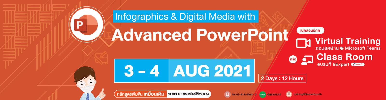 หลักสูตร Infographics & Digital Media with Advanced Microsoft PowerPoint (2Days) 3-4 สิงหาคม 2564