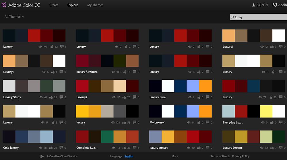 ภาพตัวอย่างการใช้ฟังก์ชั่นค้นหาชุดสีที่ต้องการโดยใส่ Keyword