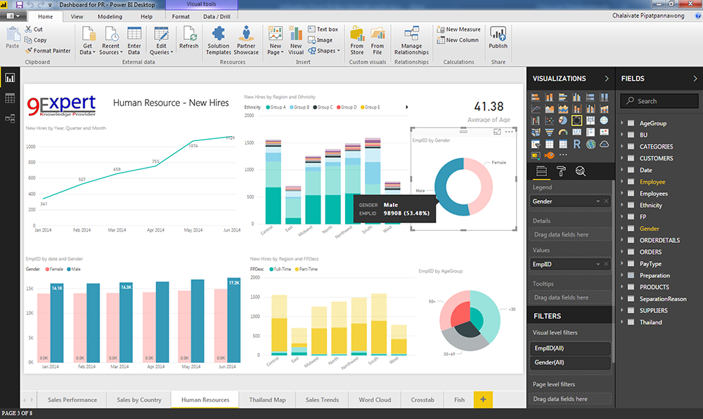 Power BI Desktop แสดงรายงานด้าน Human Resources
