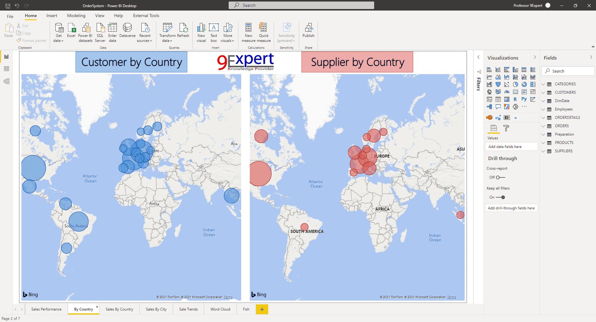 โปรแกรม Power BI Desktop ที่จะแสดงแผนที่โดยใช้ Map