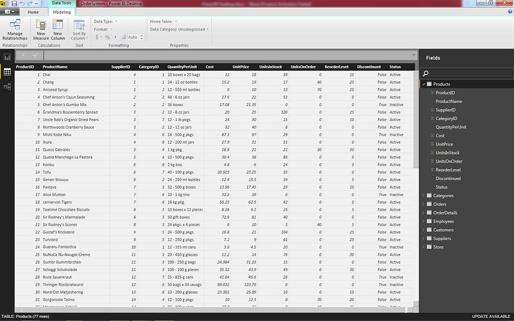 โปรแกรม Power BI Desktop มุมมอง Datasheet View