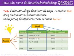 Table กับความสำคัญในงาน ฐานข้อมูล